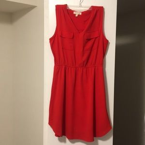 Sleeveless, short red dress